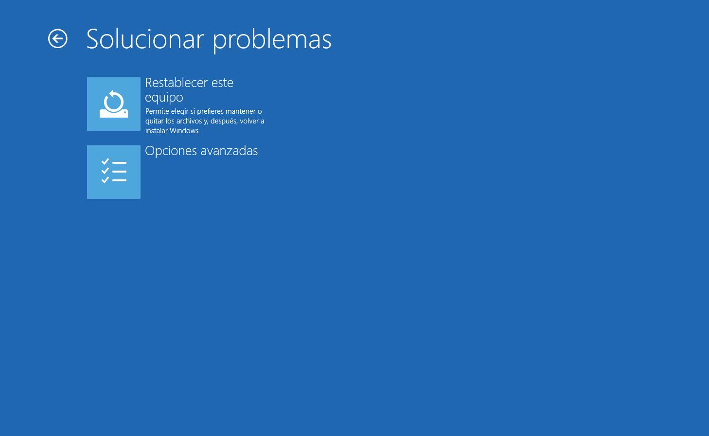 Menu Solucion de problemas Windows 10
