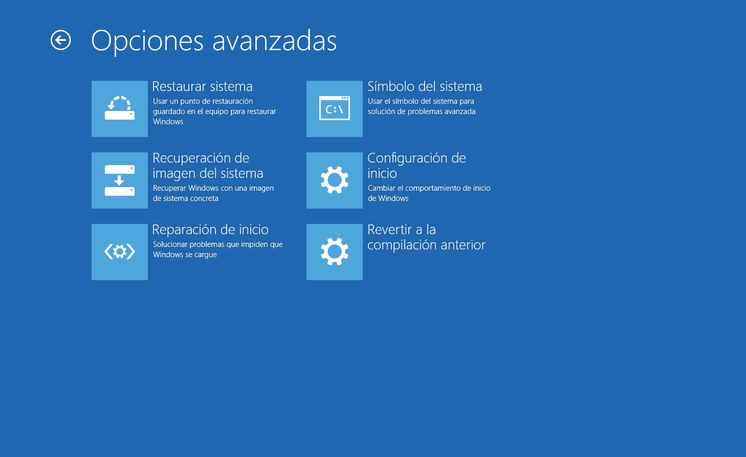 Menu Opciones Avanzadas en Windows 10