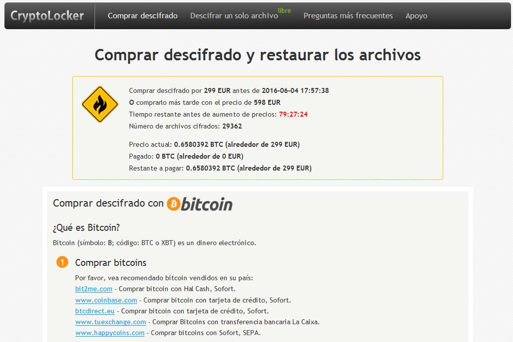 Imagen pago rescate CryptoLocker