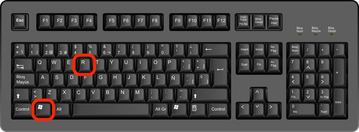 Teclas para abrir menu ejecutar Windows