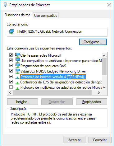 Doble Click en Protocolo de Version 4 (TCP/IPv4)