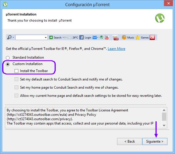 Instalación escondida en Utorrent